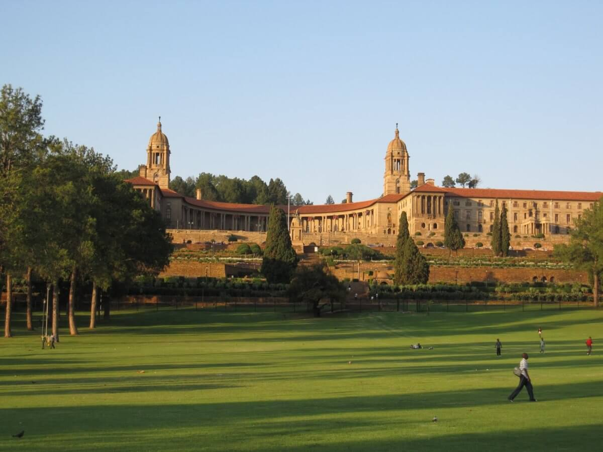 Union Buildings, Pretoria, and with the sun setting, and 2,000 km covered, time to depart