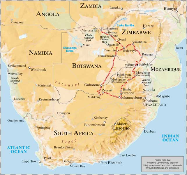Map Of Africa Victoria Falls.The Pride Of Africa Cape Town To Victoria Falls Planet Rail