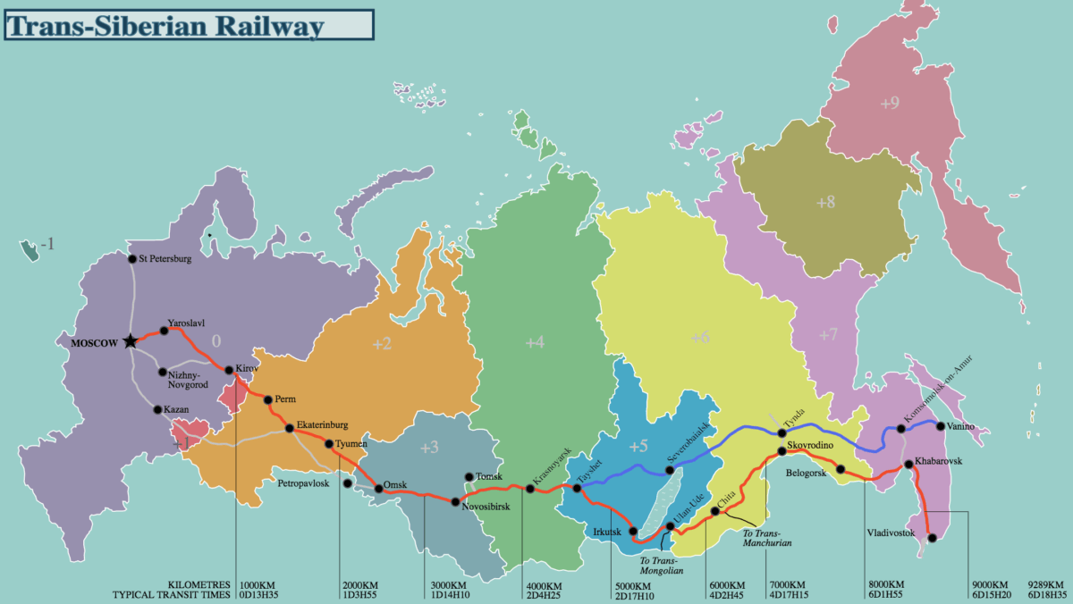 Trans-siberian express route distance and times